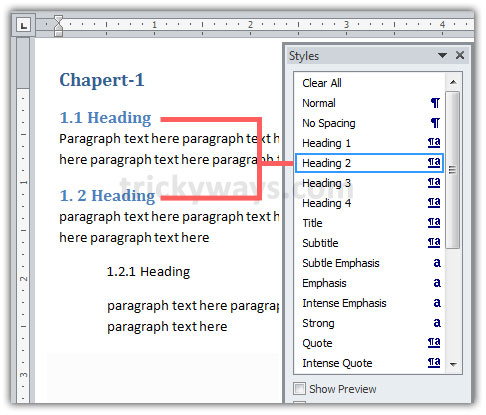 apply-style-to-second-level-heading Table Of Contents For Apa Format Example Word on