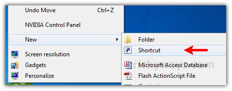 Create New Shortcut