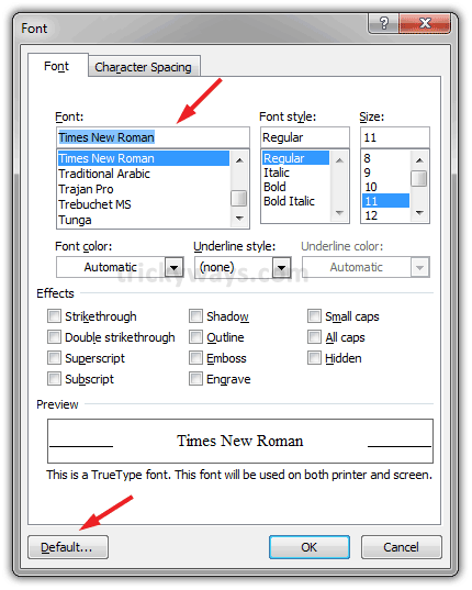 how do you change the default font in word 2007