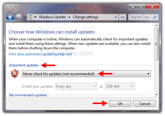 how do i turn off automatic updates on windows 7