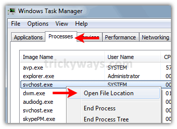 find process location windows 7 or vista