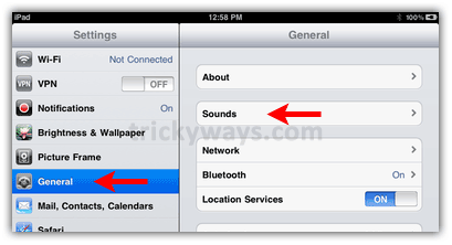 ipad settings general sounds