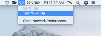 turn on wifi on mac