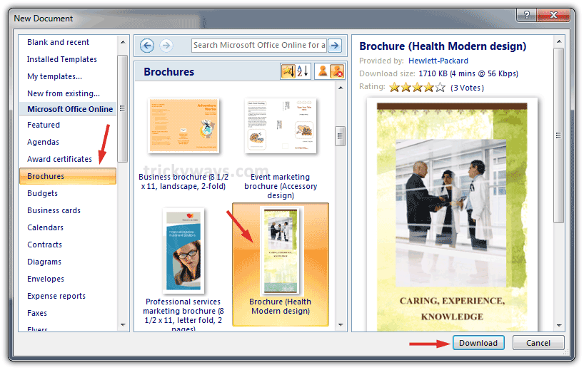 create brochure in word 2007 or 2010