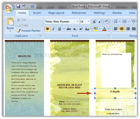 Create brochure in word 2007 or 2010 make brochure microsoft word for Microsoft word pamphlet