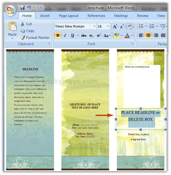 how to make a trifold pamphlet in word