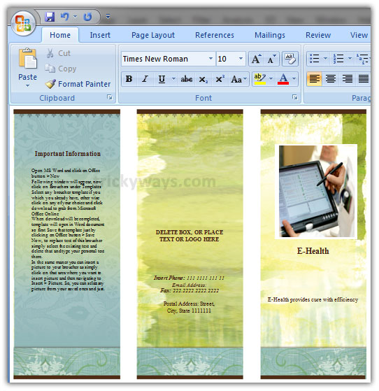 Create Brochure in Word 2007 or 2010 | Make Brochure Microsoft Word