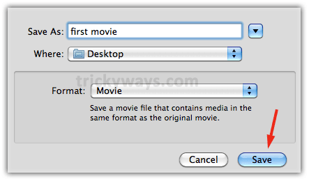 The file type will be .mov * Click Save * Now just wait unti