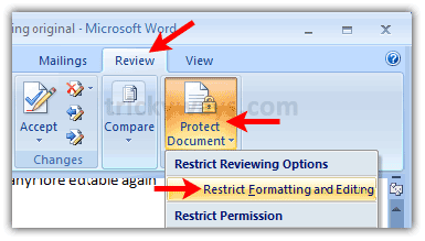 Restrict Editing Word Document [Word 2007 and 2010]