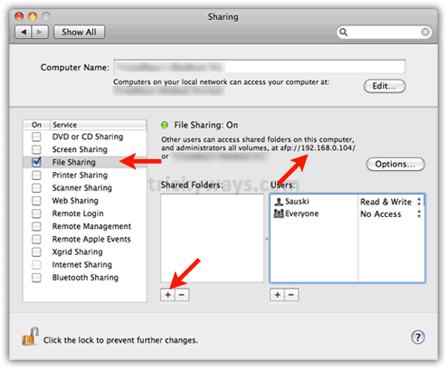 Enable file sharing mac