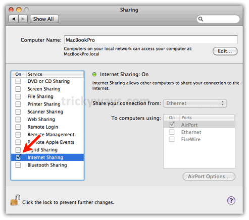 Enable internet sharing on mac