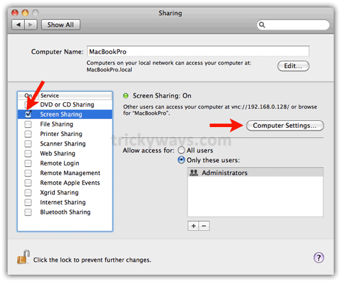 Enable screen sharing on mac