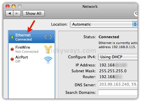 Ethernet connected on Mac