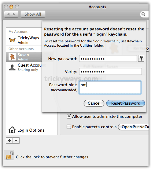resetting administrator password mac