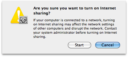 Start internet sharing on mac
