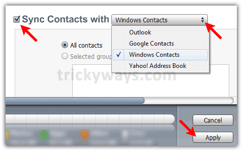 sync contacts with windows