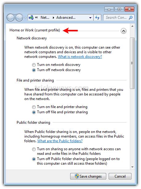 Turn Off Network Discovery, File/Printer Sharing and Public Folder Sharing In Windows 7 | MS Windows