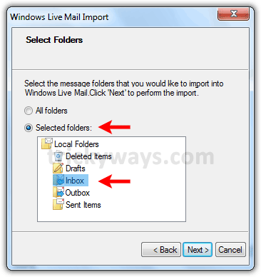 Folder to import into windows live mail