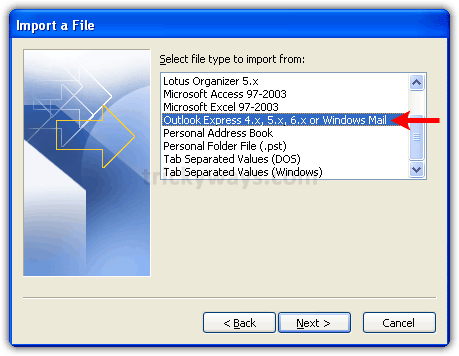 Outlook 2007 import a file