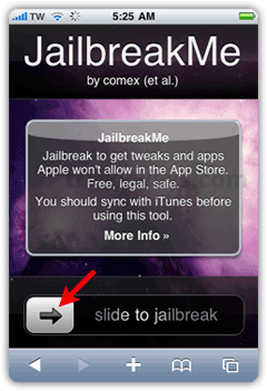 JailbreakMe : slide to start jailbreak iphone 4