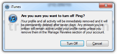 Confirm to turn off Ping