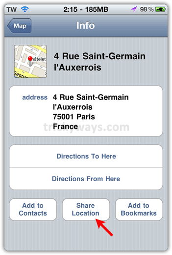 Share map location iphone