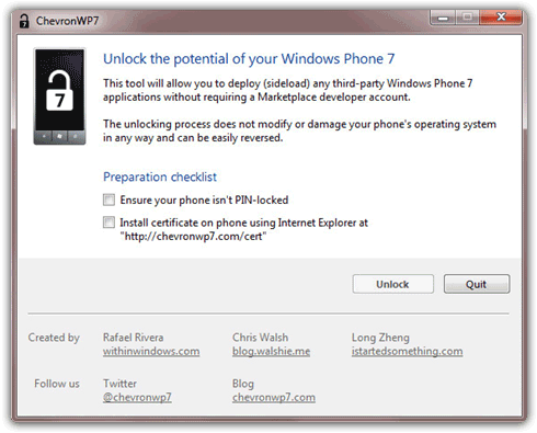 Unlock Windows Phone 7 with ChevronWP7