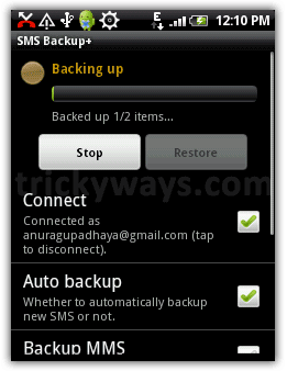Backup SMS Android
