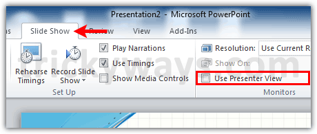 how to use presenter view in powerpoint 2010 view notes privately
