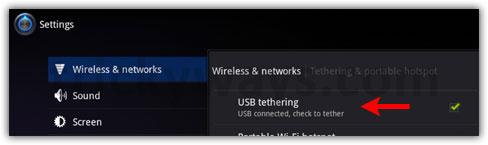 XOOM USB Tethering