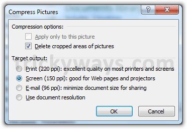 Options for compress PowerPoint File