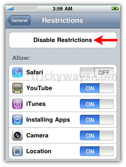 how to turn off restrictions on iphone how to enable parental controls on iphone and ipod touch 5696