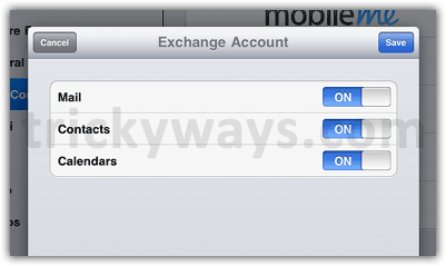Exchange email account options