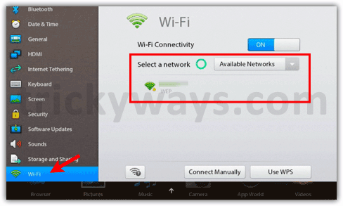 Playbook WiFi settings