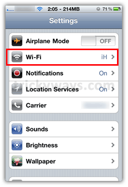 iPhone WiFi Settings