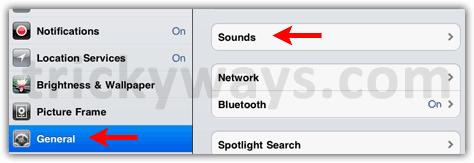 iPad 2 sounds settings