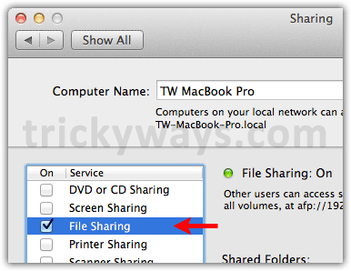 File sharing OS X Lion