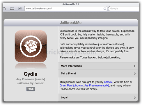 Jailbreak iPad 2 on iOS 4.3.3 by means of  JailbreakMe 3.0 | iPad