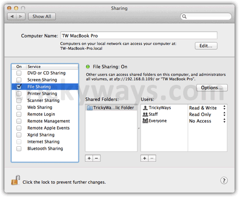 OS X Lion File sharing