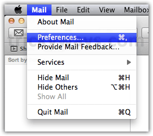 Mail menu OS X Lion