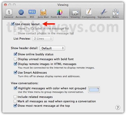 Mail preferences OS X Lion