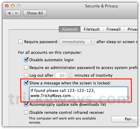 Locked screen message OS X Lion