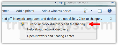 Turn on network discovery and folder  sharing