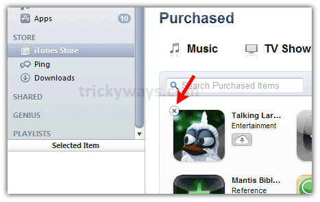 how to delete unhide apps in itunes