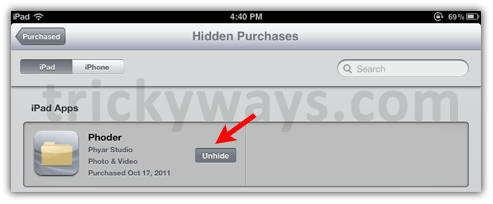 How to Hide / Unhide Apps as of  App Store Purchases on iPad | iPad