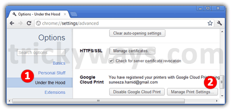 Google chrome print page settings
