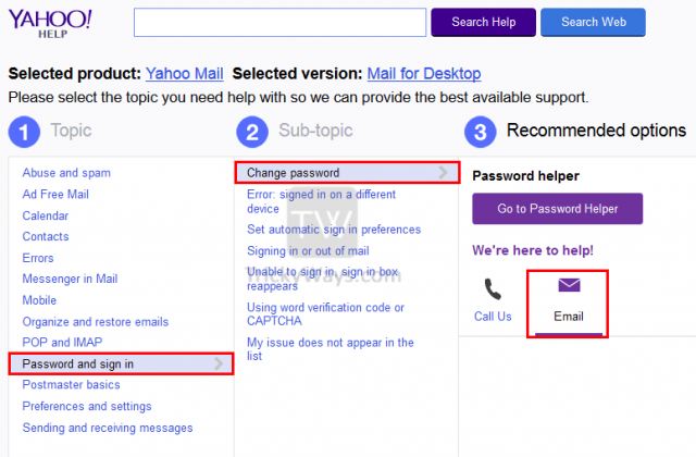 can i change my yahoo mail password on my mobile phone