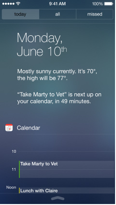 ios 7 notification center today