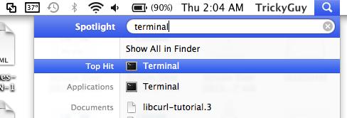 open terminal