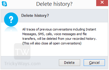 delete skype history confirmation